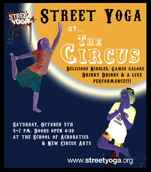 3rd draft of the Street Yoga Circus poster, finalizing the layout before arranging text.